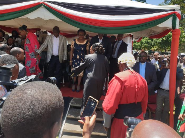 Nominated MP Maina Kamanda (in grey suit) attending the swearing-in ceremony of Kiambu Governor James Nyoro in Kiambu on Friday, January 31