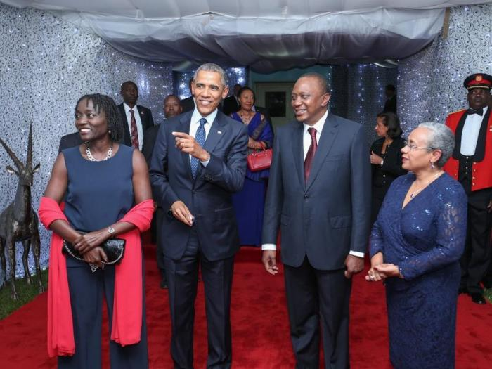 Auma Obama Barack Obama President Uhuru Kenyatta and Margaret Kenyatta at the launch of Sauti Kuu foundation