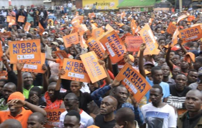 ODM supporters during a rally in Kibra on Sunday, October 27.