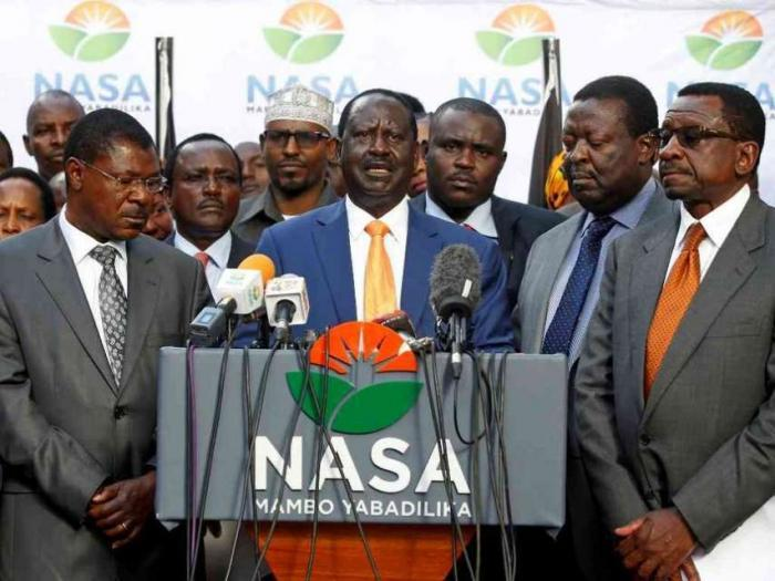 NASA leader Raila Odinga and NASA co-principals in a past media address. NASA affiliate parties will wait for ODM's decision on Ksh 4.1 billion sharing after Registrar of Political Parties allocated them the money
