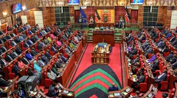 Parliament in session. President Uhuru Kenyatta declined to sign the Parliamentary Service bill, instead referring it back to parliament.