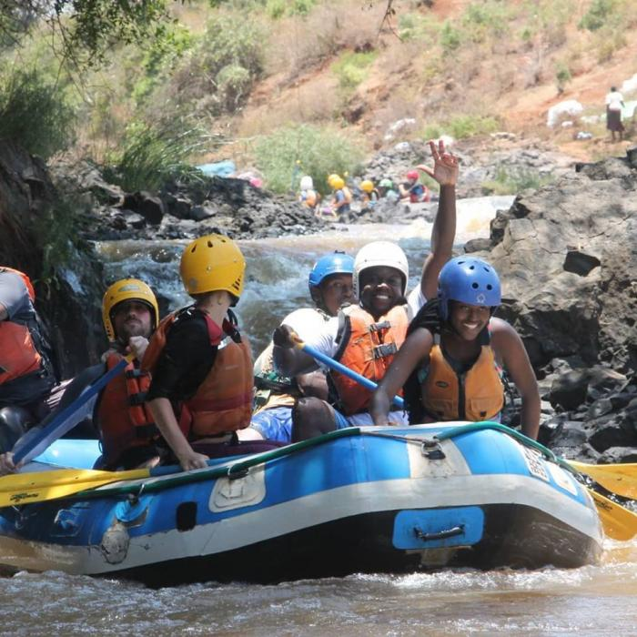 Peponi School students during a white-water rafting expedition.