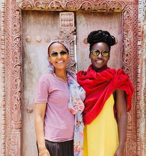 Philanthropist Umra Omar (l) and Lupita Nyong'o pictured in Lamu August 2019