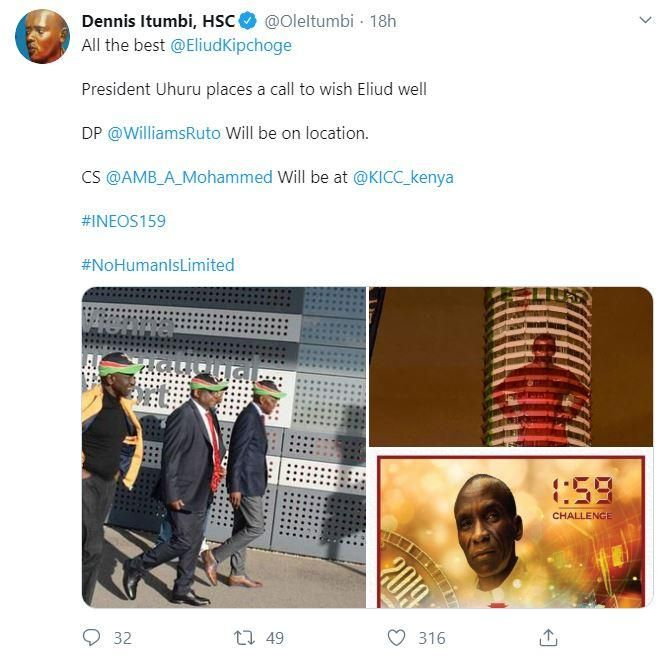A screengrab of Dennis Itumbi's tweet. It appeared to suggest that former Kakamega Senator Bonny Khalwale had travelled to Vienna with Deputy President William Ruto on Thursday, October 10.