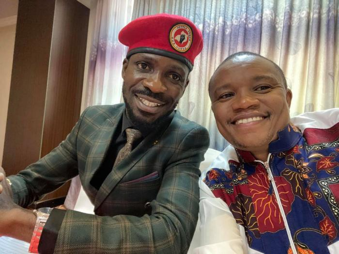 Molo MP Kuria Kimani poses with Ugandan lawmaker cum artist Robert Kyagulanyi alias Bobiwine
