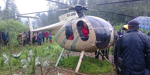 Pilot Allan Root made an emergency landing in a farm on Monday after encountering bad weather. Mr Root was taking his two children to Nairobi's Banda School. He later took off after the clouds cleared. June 18, 2012.