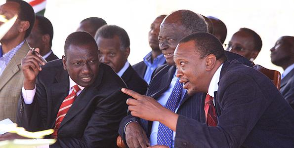 President Uhuru Kenyatta with Deputy President William Ruto and retired President Mwai Kibaki