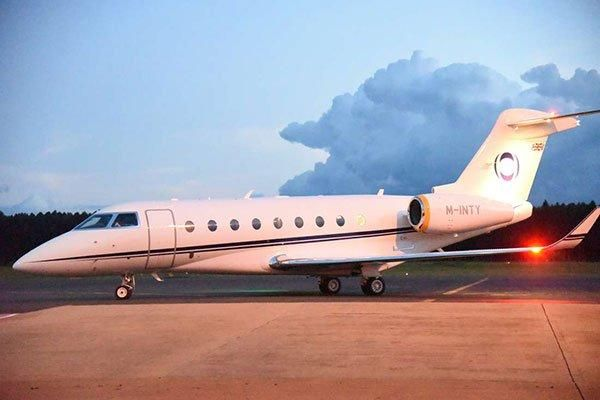 The chartered Gulfstream G280 jet which flew Kipchoge to Vienna, Austria