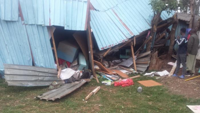 A collapsed Precious talent school in Ngando, that was closed by CS Professor George Magoha after it killed 7 pupils.