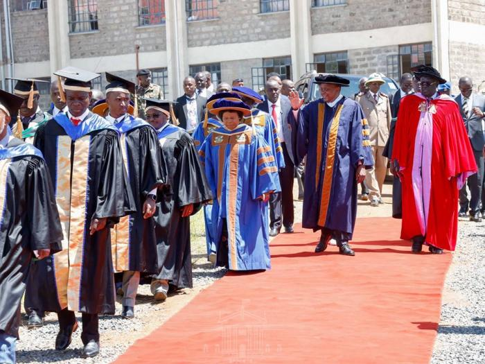 President Uhuru Kenyatta and Education CS Prof George Magoha at Kibabii University November 22