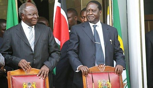 President Kibaki and Raila Odinga before they signed a grand coalition deal in 2008