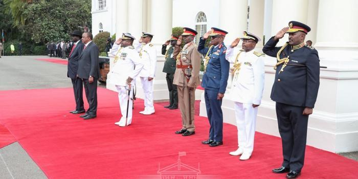 President Uhuru Kenyatta and President of the Republic of South Sudan pictured at attention. July 1, 2019