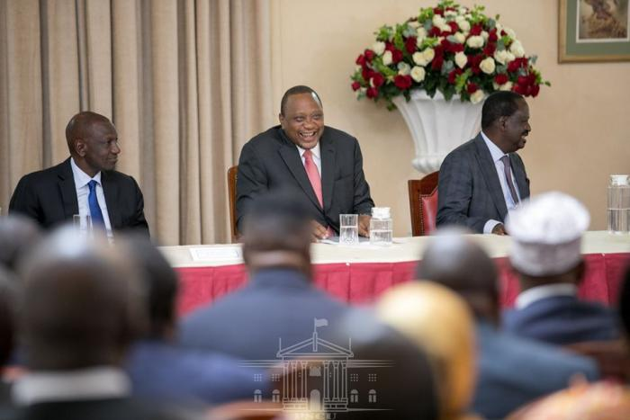 President Uhuru Kenyatta (c) Deputy President William Ruto (l) and Raila Odinga pictured during the handover of BBI report at State House Nairobi, November 26.