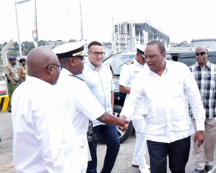 President Uhuru Kenyatta is introduced to a Seafarer captain at the Port of Mombasa August 26, 2019
