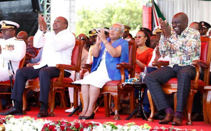 President Uhuru Kenyatta (L), First Lady Margaret Kenyatta (C) and Deputy President William Ruto pictured during the Mashujaa Day celebrations on October 20, 2019