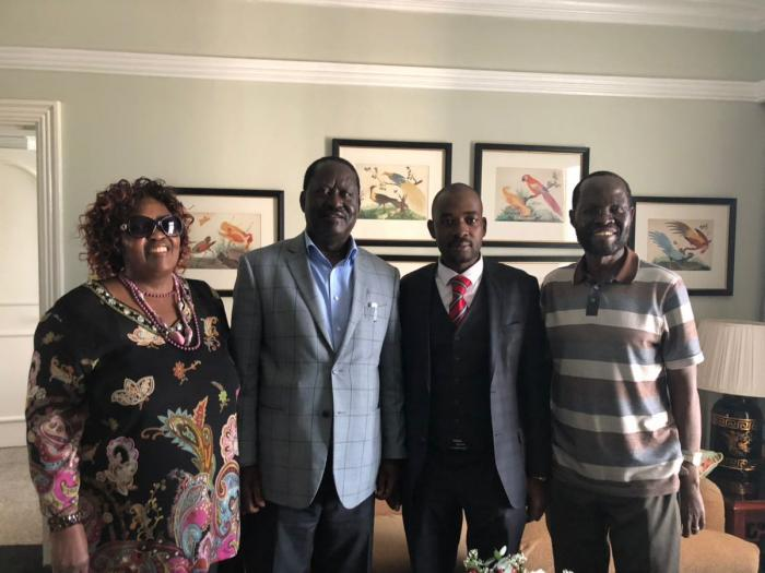 Former Prime Minister Raila Odinga with his sister Beryl Odinga, Kisumu Governor Anyang Nyongo and Zimbabwean Opposition leader Nelson Chamisa at a meeting in Zimbabwe in 2019. Raila helped his sister escape an abusive marriage by arranging for her to take a trip to Zimbabwe.
