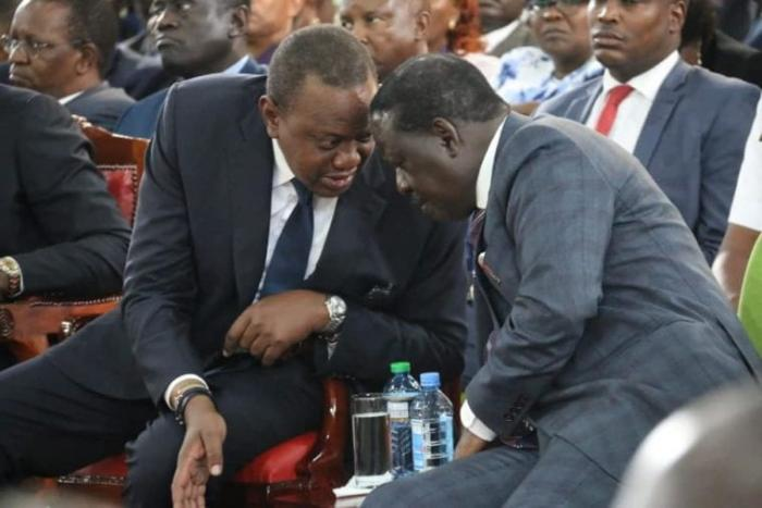President Uhuru Kenyatta with ODM leader Raila Odinga in a past event. Nyeri Town MP Ngunjiri Wambugu is a staunch supporter of the famous March 2018 handshake between the two leaders