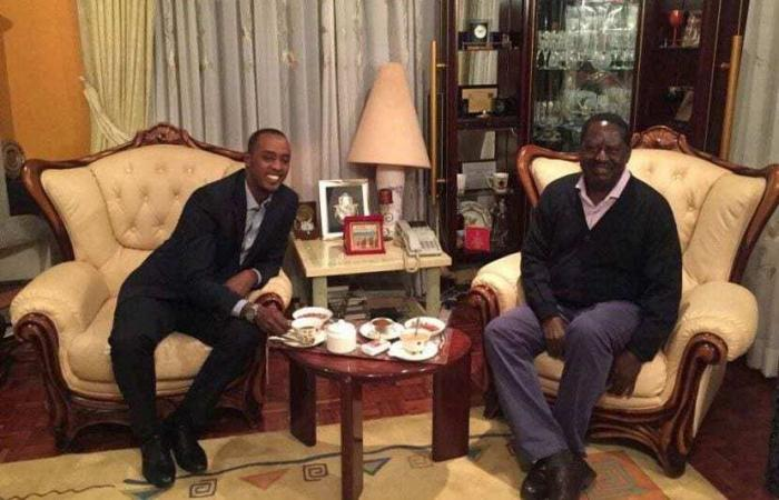 Raila Odinga with former citizen TV anchor Hussein Mohammed during an interview in his Karen Home