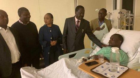 Raila Odinga when he visited former Nasa CEO Norman Magaya. He has since been flown abroad for further treatment