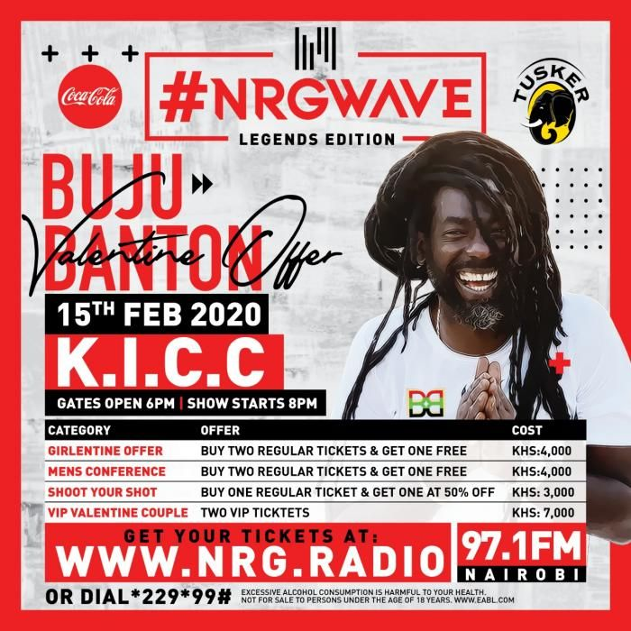 A poster for the NRG Wave: Legends Edition Concert featuring Buju Banton scheduled for Saturday, February 15