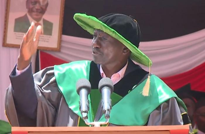 Deputy President William Ruto speaking while presiding over the 3rd Graduation Ceremony of Kisii National Polytechnic, Kisii County on Thursday, October 17.