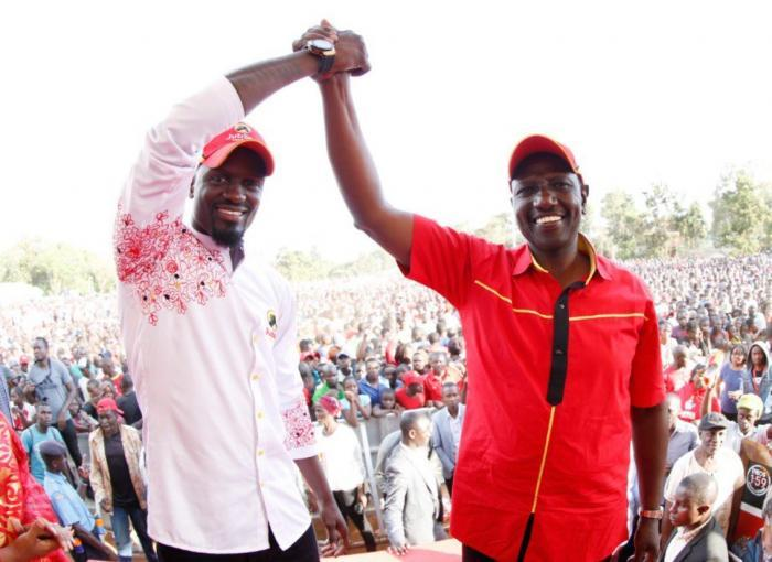 DP Ruto with McDonald Mariga at DC Grounds, Kibra, Nairobi County on November 3. Mariga lost to ODM's Imran Okoth