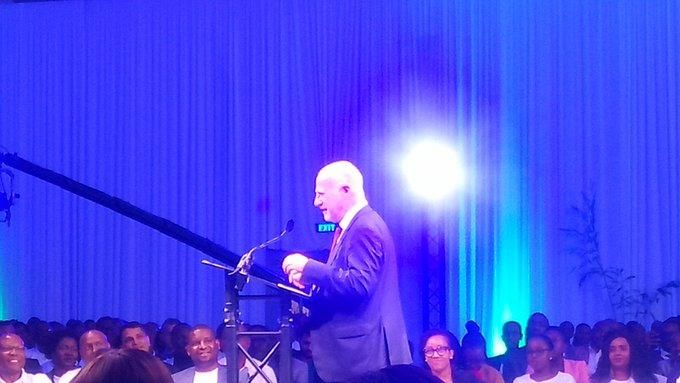 Safaricom Interim CEO Michael Joseph speaking during the company's 19th birthday, October 23, 2019