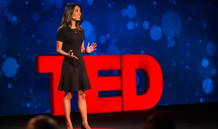 Shivani Siroya speaking on the TED show on April 25, 2016.