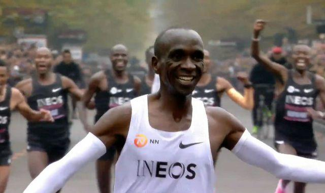 Eliud Kipchoge as he crossed over the finish line in Vienna, Austria on Saturday, October 12. Photo: Twitter