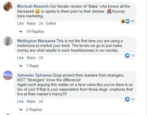 Snapshot of some of the messages posted in response to Ciku Muiruri's facebook post about the late Tob Cohen