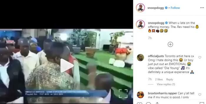 Snoop Dogg's post making fun of Pastor James Ng'ang'a on his Instagram