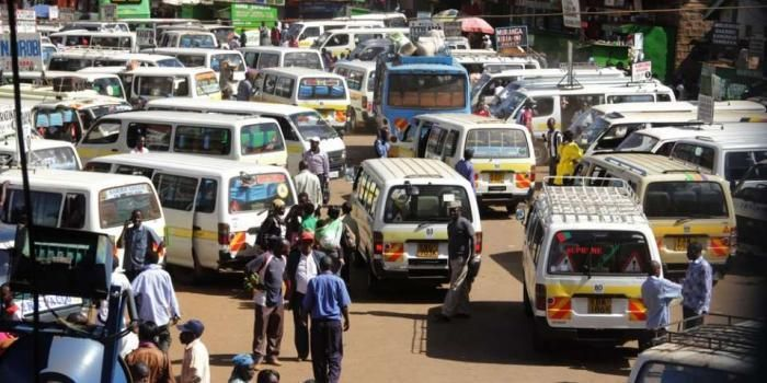 Matatus at a Bus terminus in Nairobi. Matatu operators along the Kiharate- road are not having it easy following the emergence of a gang extorting Matatus plying the route in order to operate in the region