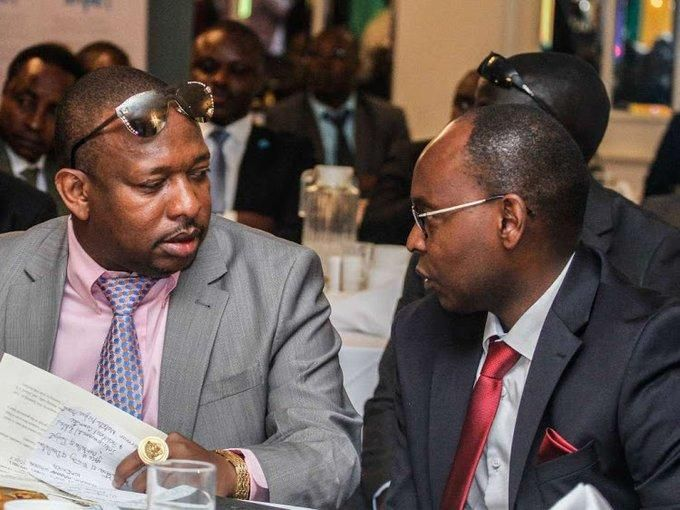 Nairobi Governor Mike Sonko with suspended CEC Charles Kerich at a past event. Photo: Daily Nation.