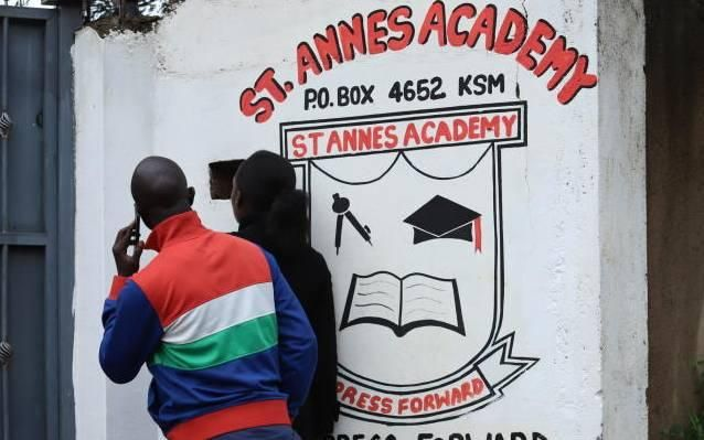 Parents at St Annes Academy Primary School gate on Tuesday, October 29. 14 KCPE candidates from the school could not be traced since the exams begun.