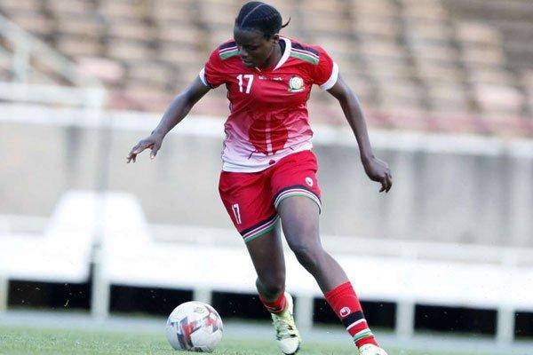 Harambee Starlets midfielder Corazon Aquino during the 2020 Tokyo Olympic Games against Zambia on November 8, 2019, at Moi International Sports Centre, Kasarani.