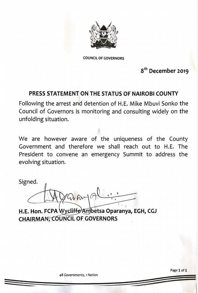 The statement from the Council of Governors on Sunday, December 8, announcing the stand by the council of Governors on Sonko's arrest.