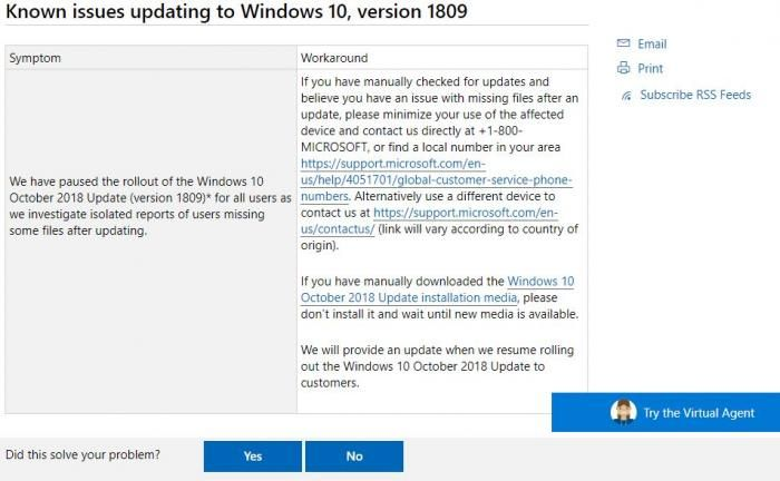 Statement from Microsoft over the Windows 10 update version 1809 problem