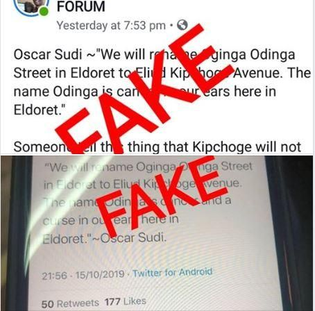 A screengrab of a fake message Oscar Sudi called out on Wednesday, October 16