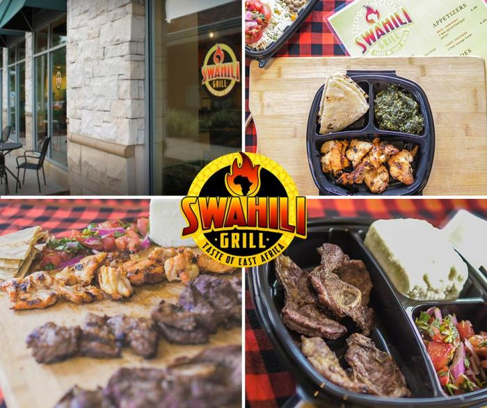 A collage of photos from the Sawhili Grill in North Carolina.