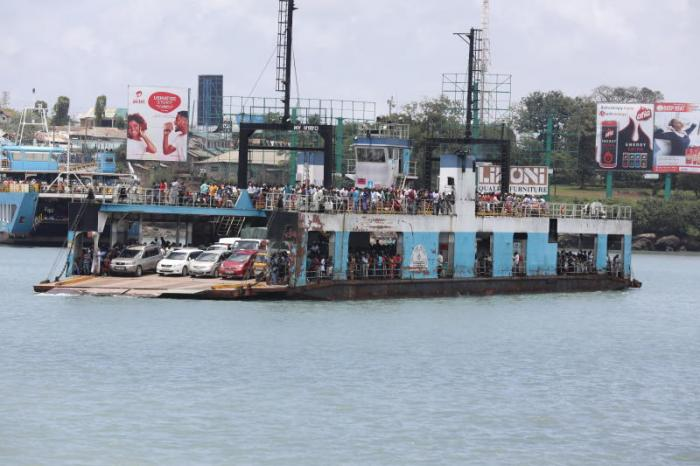 The MV Harambee pictured while crossing the Likoni Ferry.