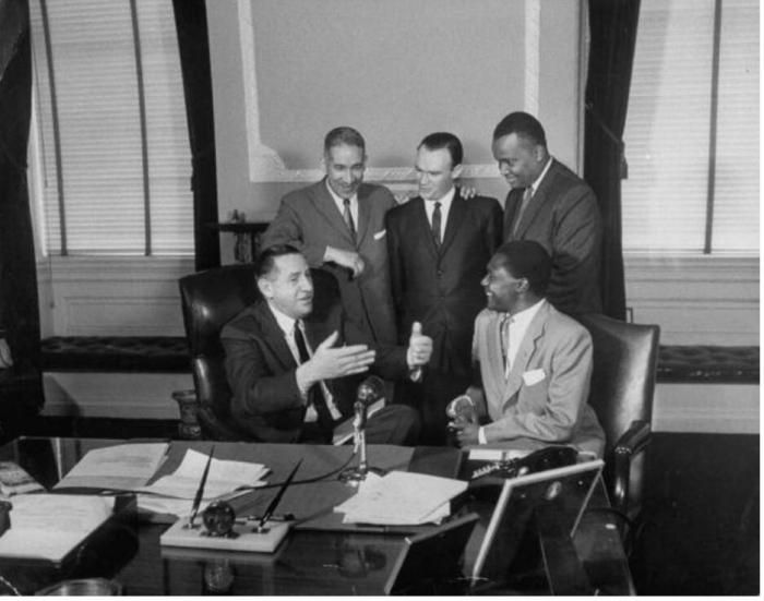 Tom Mboya with the governor of Massachussets in 1960.