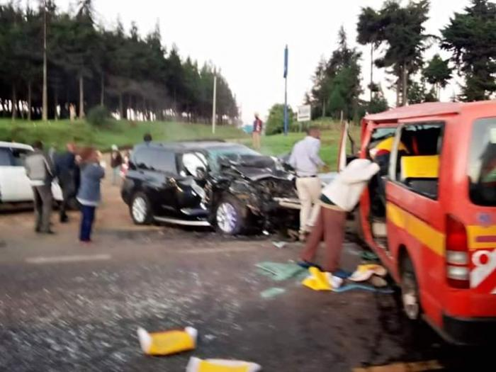 The scene of the accident involving CS Raphael Tuju on February 12, 2020