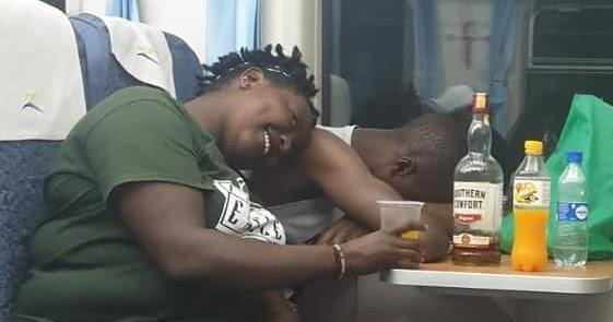 Passengers pictured heavily drinking on an SGR train on September 29, 2019. Photo: Twitter.