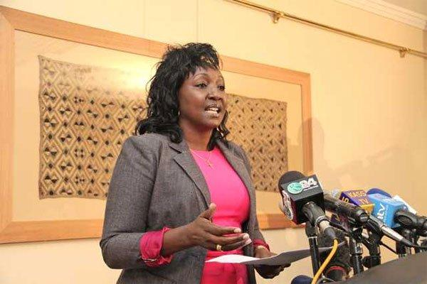 Uasin Gishu Woman Rep Gladys Boss Shollei at a press briefing July 1, 2019.
