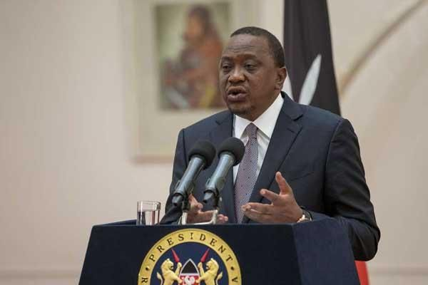 President Uhuru Kenyatta addresses the 5th Annual Devolution Conference 2018 via video link from State House, Nairobi on April 24, 2018