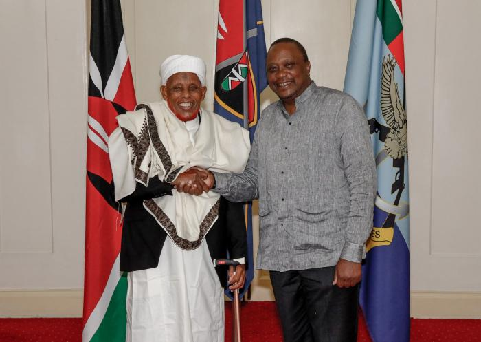 President Uhuru Kenyatta with King Abdi at State House on Monday, December 2.