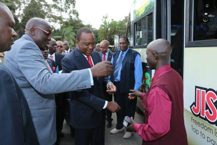 President Uhuru Kenyatta about to board a matatu from State House in November 2019.