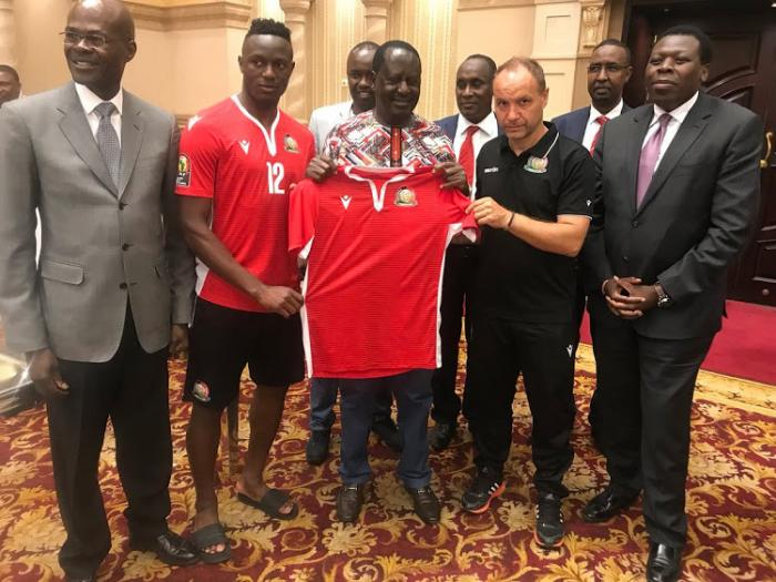 Former premier Raila Odinga visited the Harambe Stars in Egypt in June 2019 during the African cup of nations