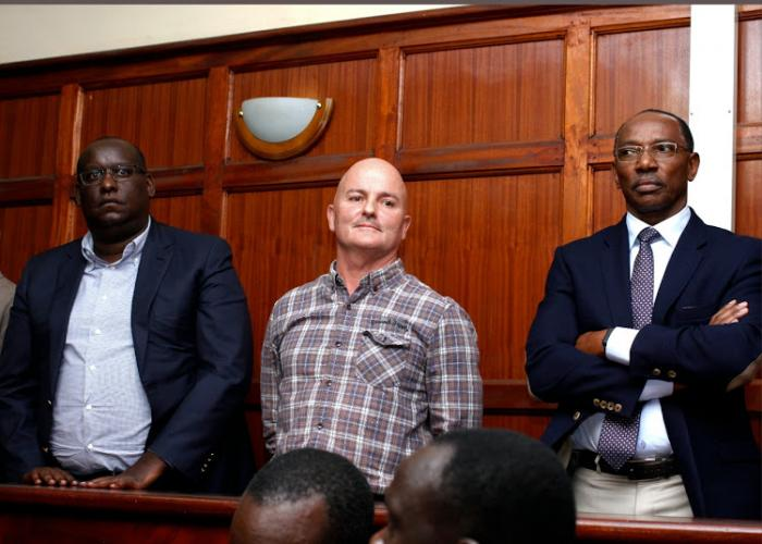 Businessmen Humphrey Kariuki, Stuart Gerard and Peter Njenga before Chief Magistrate Francis Andayi at the Milimani Law Court to answer charges of tax evasion on August 19, 2019.