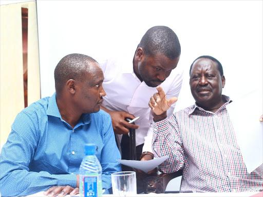 Raila Odinga with John Mbadi and Edwin Sifuna